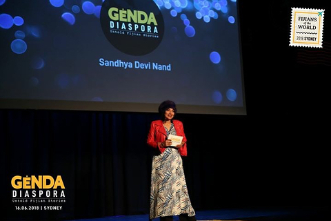 Speaker Sandhya Dusk Devi Nand at our #GendaDiaspora talks in #Sydney. . Our new talk series, #FijiansoftheWorld 🇫🇯 is currently touring Sydney, Brisbane & Auckland this year. . Genda Diaspora, a series of live talks, strives to connect Fijian audiences to the many untold stories that have left the shores of Viti. We strive to open up conversations that challenge people of all ages to venture out of their comfort zone, question themselves, question others. A space to get inspired, discover the possibilities, connect to others and ultimately to their own selves. .