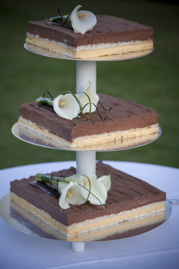 Chocolate wedding cake with Lillies