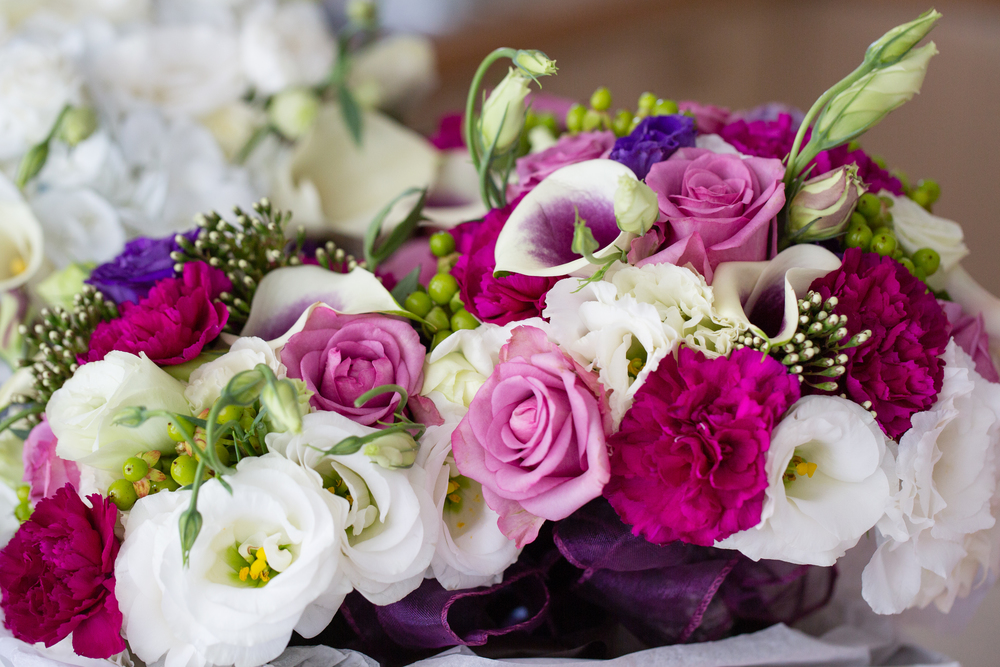 Pink and purple wedding bouquet | Astra Bridal bride Katie | Nelson Wedding Photography | www.borrowedandblue.kiwi