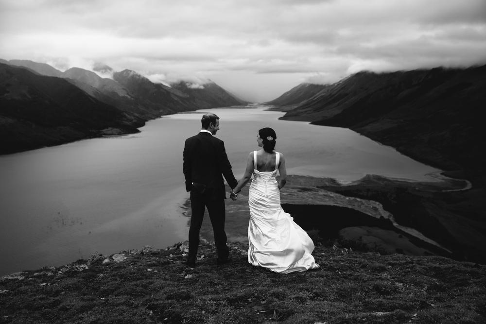 View over Wanaka | Lake Hawea wedding Wanaka | Astra Bridal bride Tania | Photography by Jim Pollard goes Click | www.borrowedandblue.kiwi
