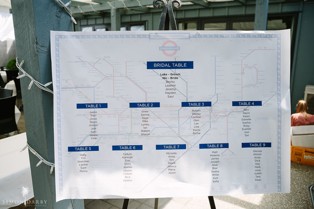 London Tube Map Seating plan \\ Astra Bridal Featured Bride Nic's Wanaka wedding \\ Simon Darby Photography \\ www.borrowedandblue.kiwi