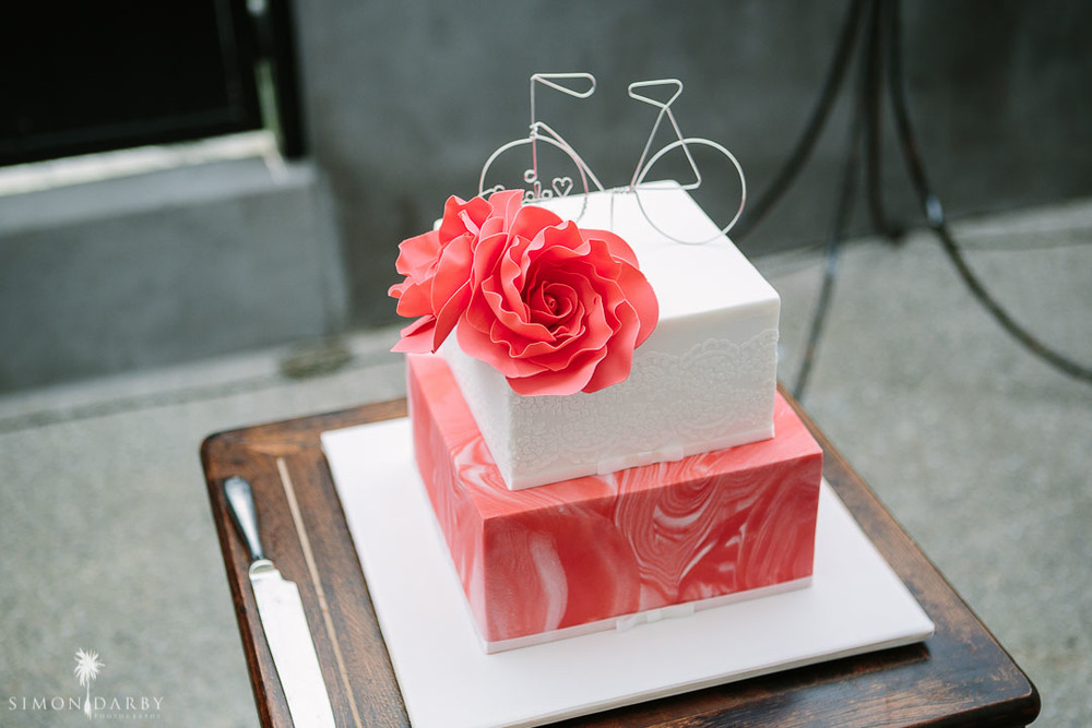 Pink wedding cake \\ Astra Bridal Featured Bride Nic's Wanaka wedding \\ Simon Darby Photography \\ www.borrowedandblue.kiwi