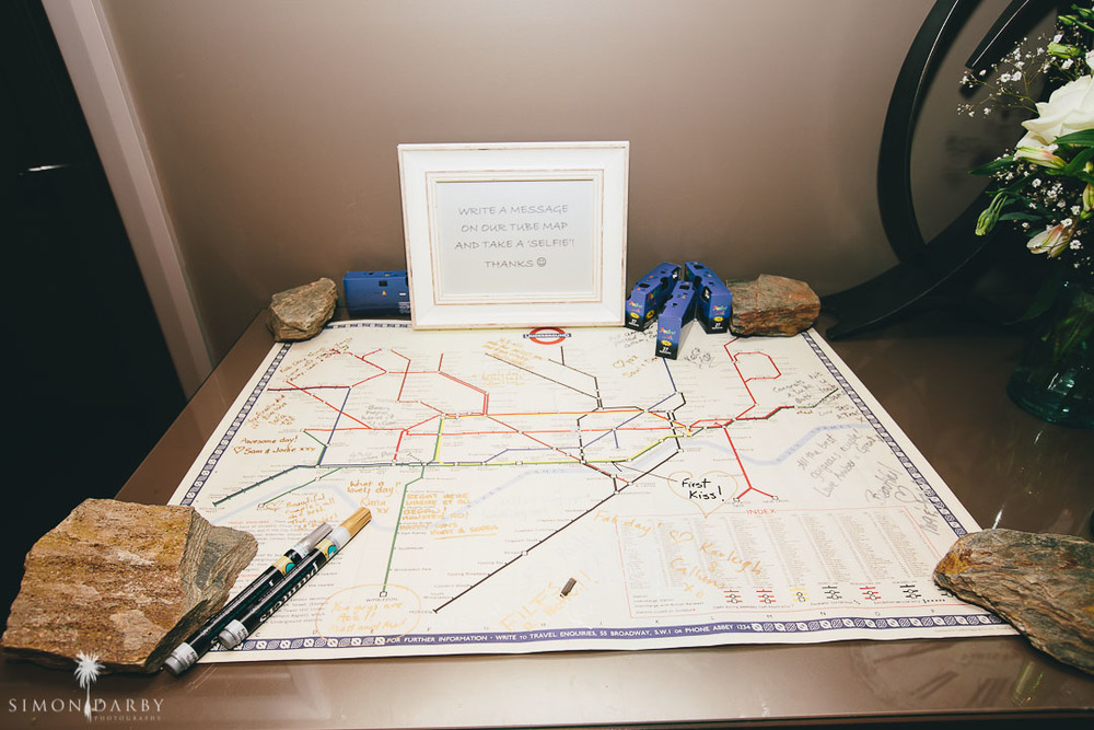 London Tube Map wedding guestbook \\ Astra Bridal Featured Bride Nic's Wanaka wedding \\ Simon Darby Photography \\ www.borrowedandblue.kiwi