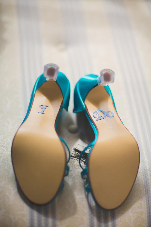 """I do"" wedding shoe stickers | Astra Bridal Featured Bride Courtney | Williams Photography | www.borrowedandblue.kiwi"