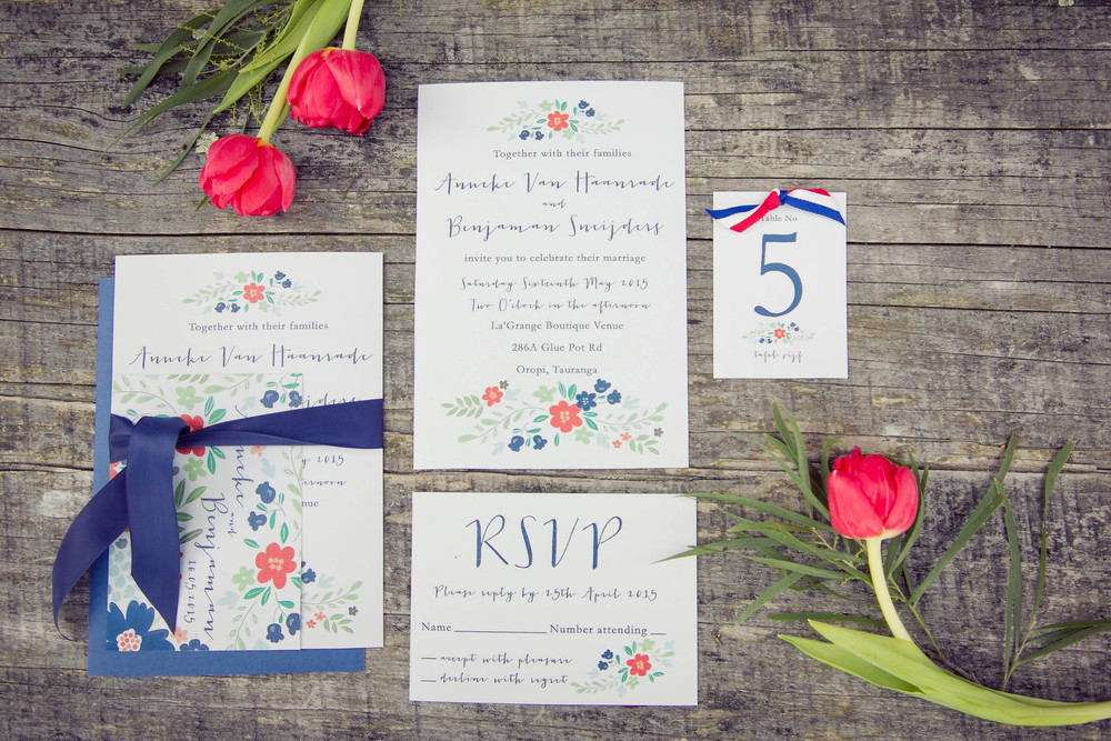 Red, white and blue wedding invites | Dutch wedding shoot | Photography by Tranquility Photography | Gown available at Astra Bridal | www.borrowedandblue.kiwi