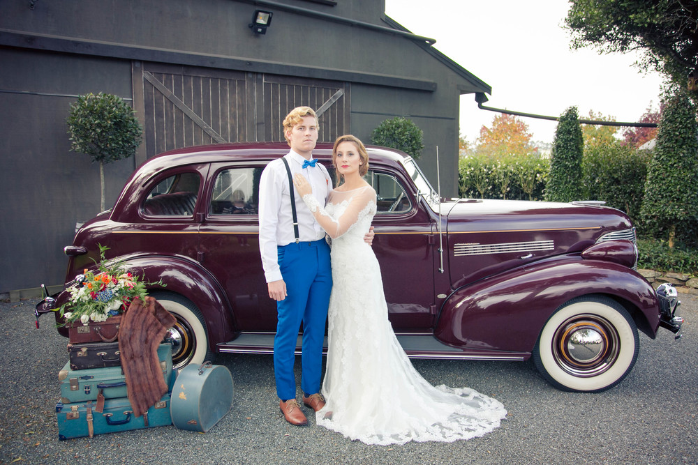 Vintage wedding car | Dutch wedding shoot | Photography by Tranquility Photography | Gown available at Astra Bridal | www.borrowedandblue.kiwi