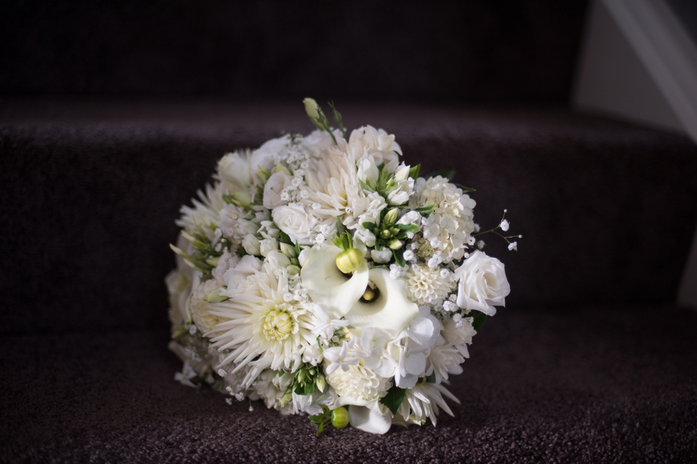 White and silver wedding bouquet | Astra Bridal Bride Megan | Photography by Laura Ridley | www.borrowedandblue.kiwi