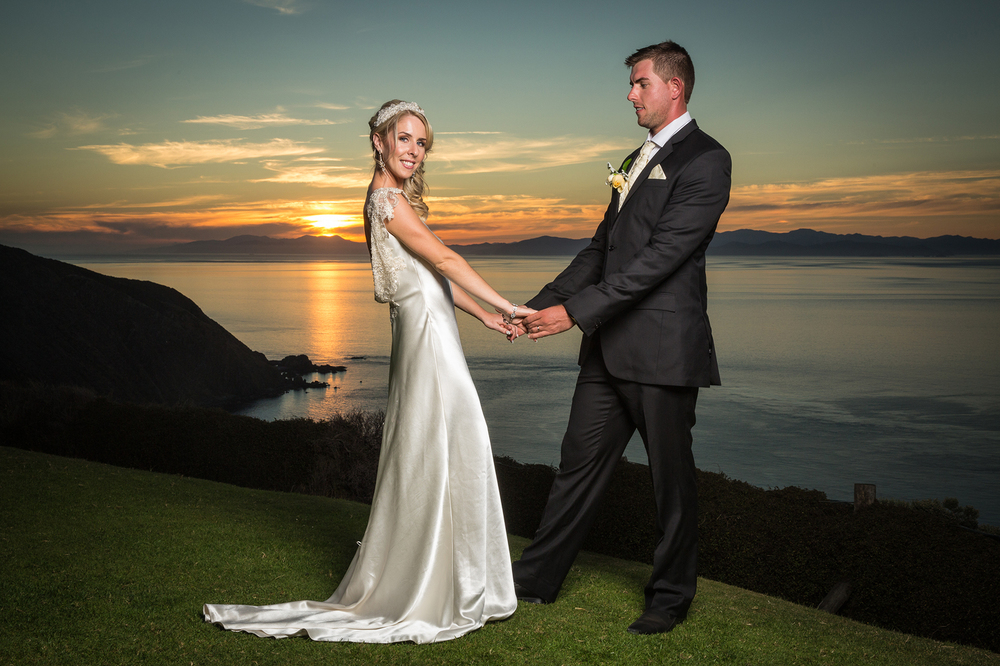 Sunset wedding photo Dress from Astra Bridal | Photography Kirsty and Grant Photography | www.borrowedandblue.kiwi