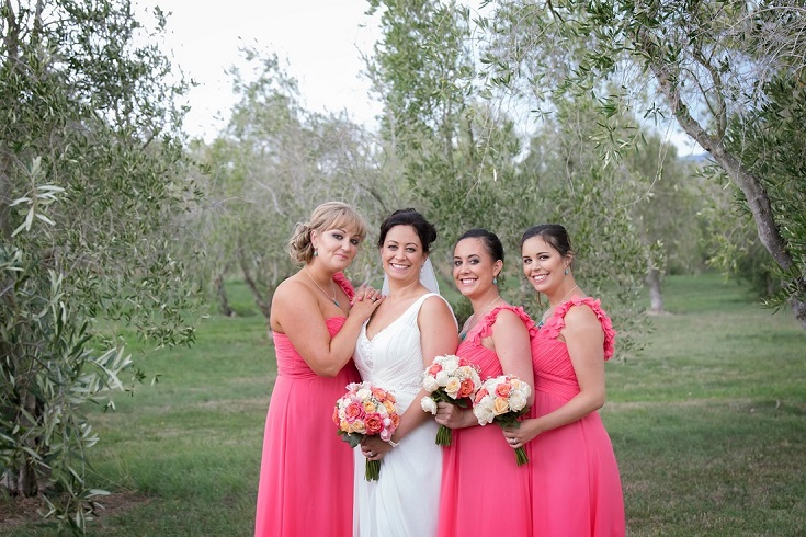 Astra Bride Jasmine | Coral pink Bridesmaids | Photography by Jo Moore |