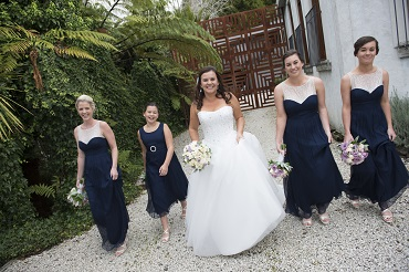 Blue bridesmaids dresses | Astra Bride Sarah | Gown by Astra Bridal | photography by Amanda Wignell | www.borrowedandblue.kiwi