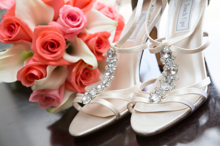 Vanessa shoe from Benjamin walk |Coral wedding theme | Astra Bride Kelly | Maggie Sottero Adeline Marie |