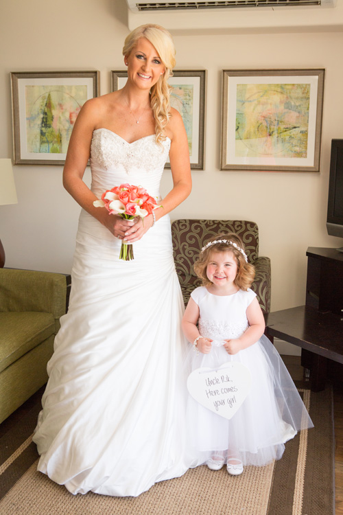 Super cute flowergirl | Coral wedding theme | Astra Bride Kelly | Maggie Sottero Adeline Marie |