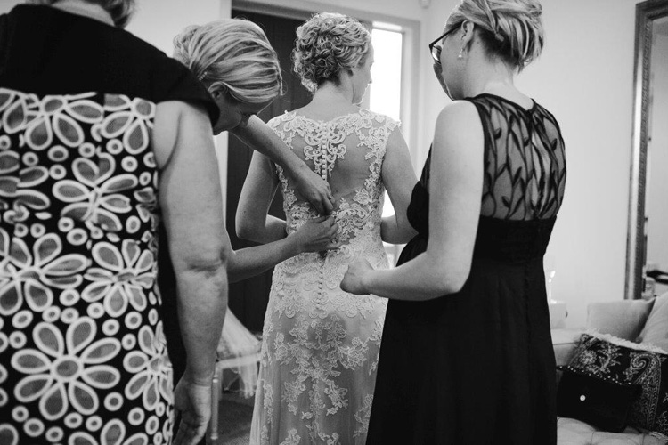 Jacquie Wheeler | Preparing for the wedding.  Gown with Amazing back.