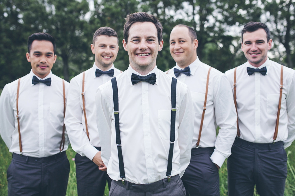Bespoke groomsmens suits and braces. | Astra Bride Rochelle | Christina Rossi Gown | Photography by Jo Currie |