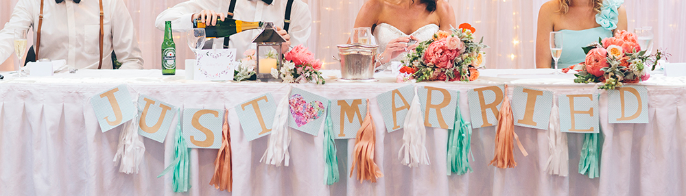 Top table banner | Astra Bride Rochelle | Christina Rossi Gown | Photography by Jo Currie |