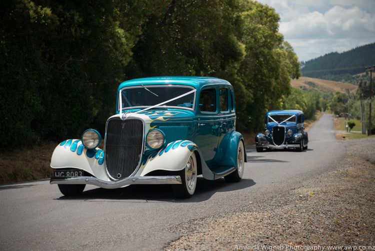 Very cool hotrod wedding cars | Astra bride Ariana | Photography Amanda Wignell |