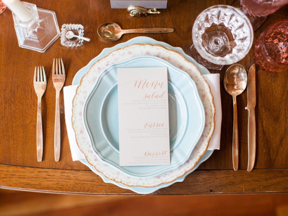 Table setting inspiration | Maggie Sottero styled shoot | Rose gold wedding shoot | brought to you by www.borrowedandblue.kiwi