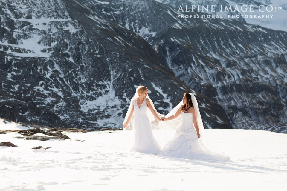 Same sex wedding Wanaka mountain shoot