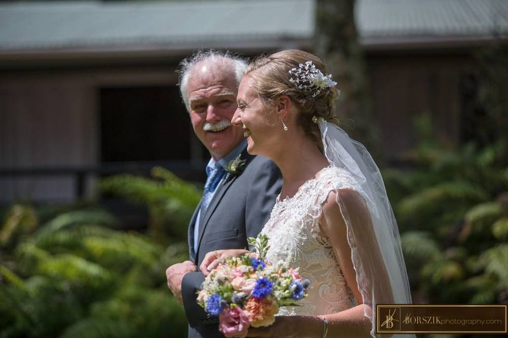Astra Bride Sheena | Walking up the aisle | Maggie Sottero Francesca | Borszik Photography | Okataina Lakes Rotorua |