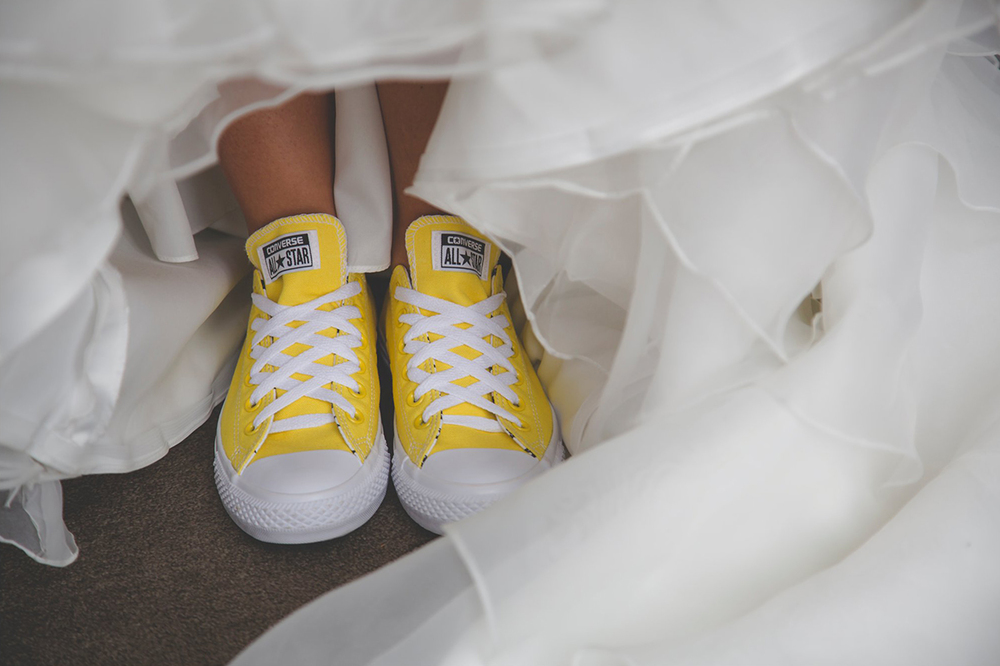 Yelllow converse shoes | Astra Bride Kylie | Wanaka Wedding | Marys bridal gown | Dan Childs Photography |