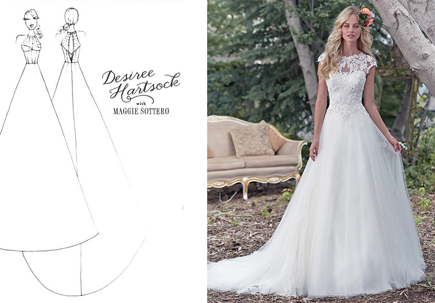 Illustration of an aline shape from Maggie Sottero.