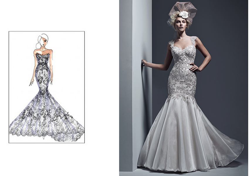 Sketch and gown from Maggie Sottero