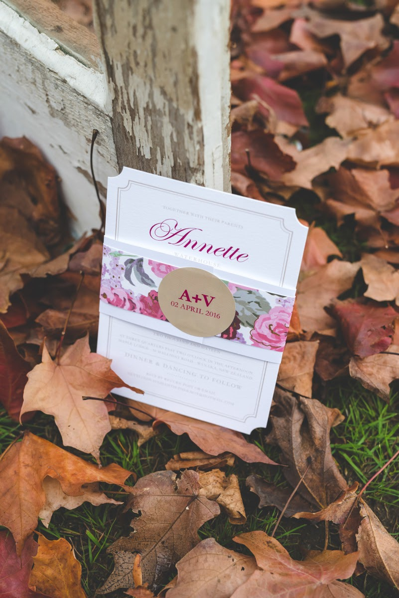 Floral Invitations | Astra Bride Annette | Sottero and Midgley dress | Wanaka wedding | Rich Bayley Photography