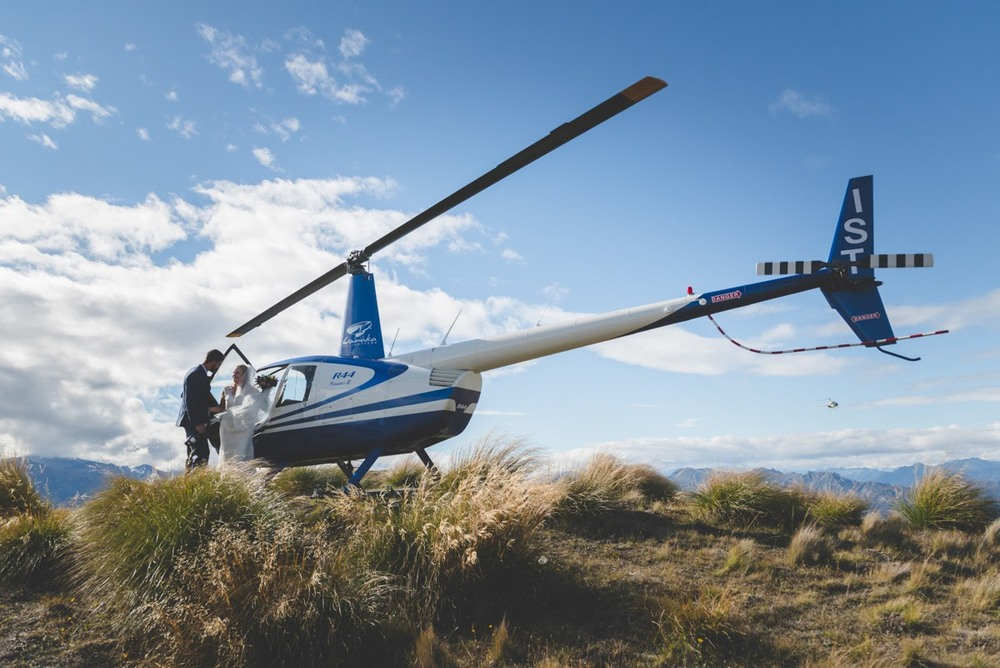 Helicopter ride | Astra Bride Annette | Sottero and Midgley dress | Wanaka wedding | Rich Bayley Photography