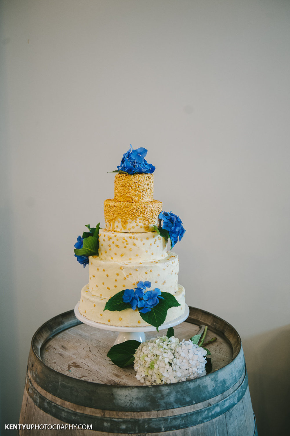 Blue and Gold cake | Astra Bride Karla | Maggie Sottero Melanie | Kent Yu Photography |