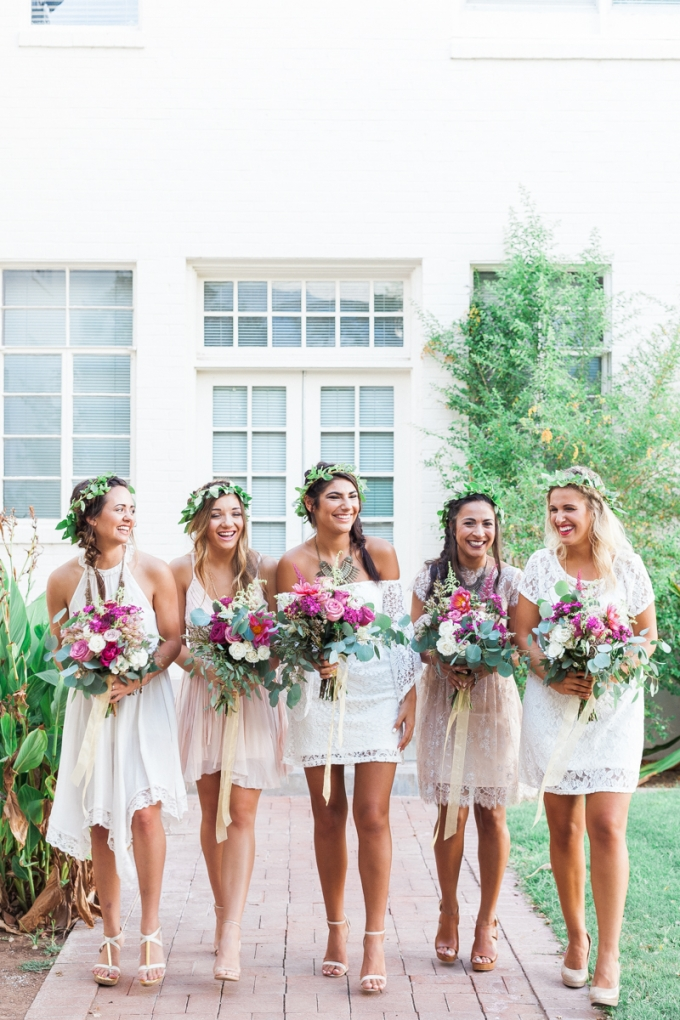 Short bridesmaids dresses | Maggie Sottero Photo shoot | Bohemian inspiration | Flower crown | www.astrabridal.co.nz