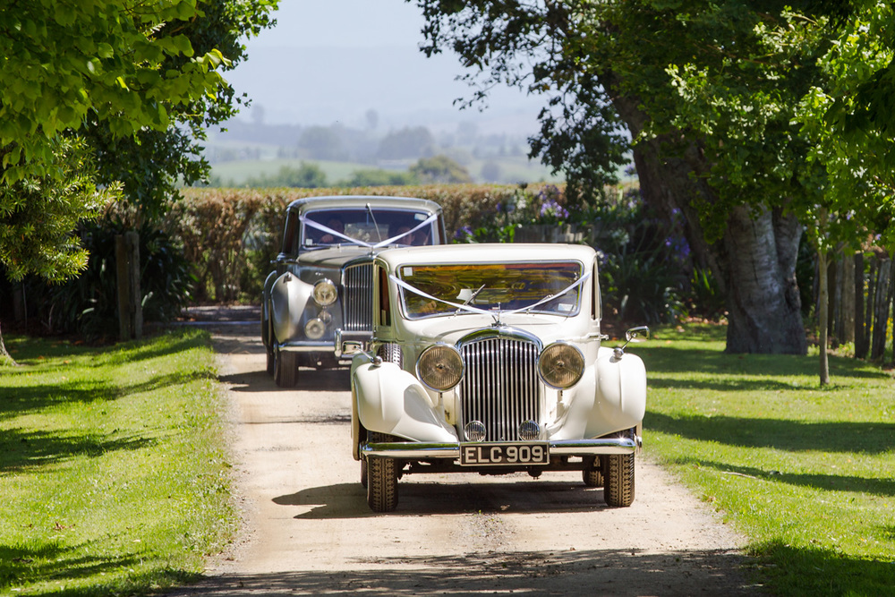 Classic cars for wedding procession | Astra Bride Trish | Maggie Sottero Marty |