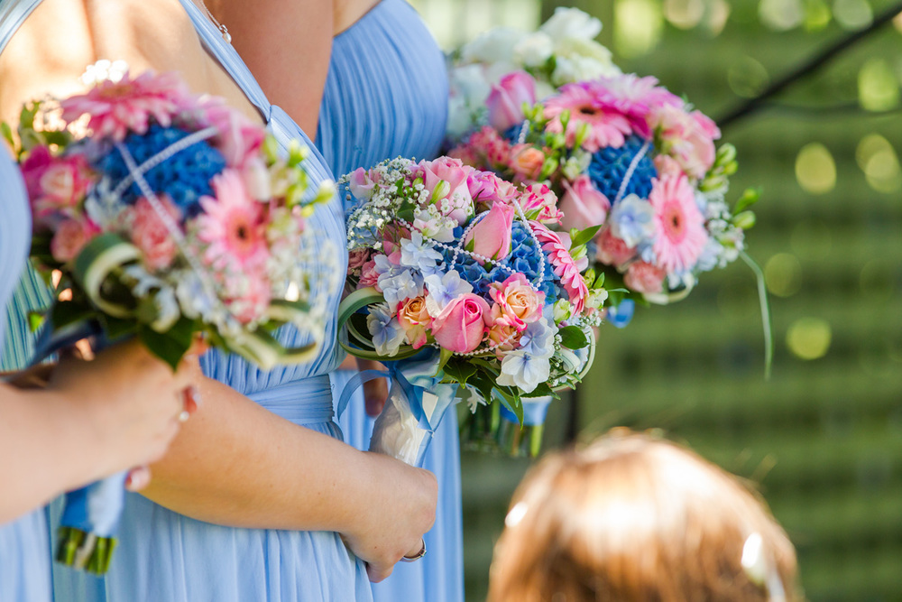 Bouquets of pink and blue | Astra Bride Trish | Maggie Sottero Marty |