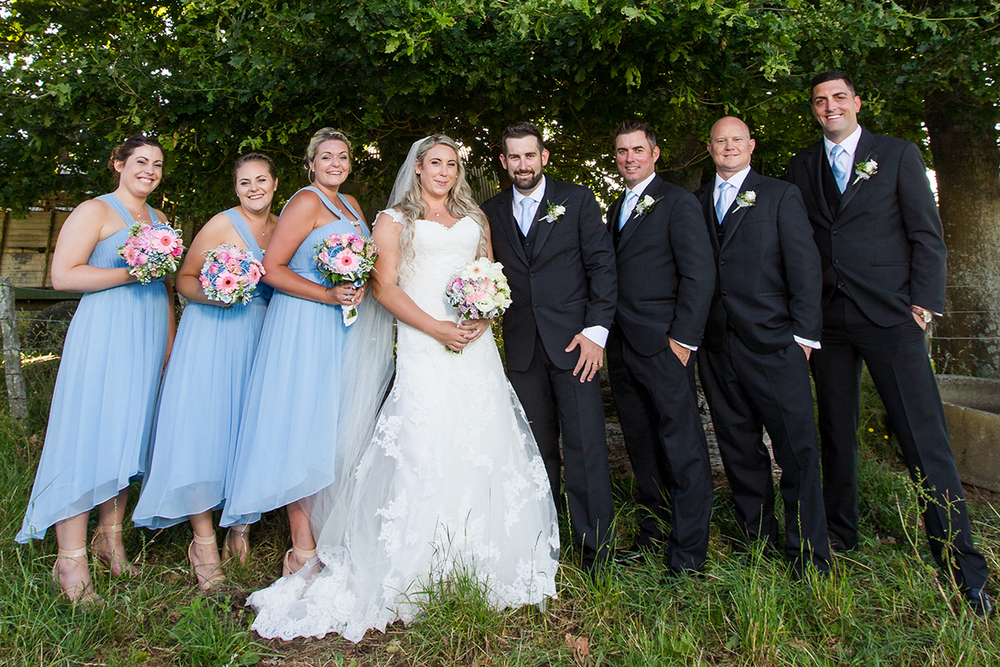 Full wedding party | Dusty blue bridesmaids | Astra Bride Trish | Maggie Sottero Marty |