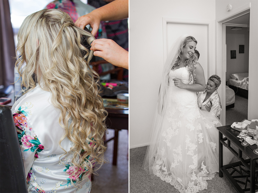 Trish preparing to walk the aisle | Astra Bride Trish | Maggie Sottero Marty |