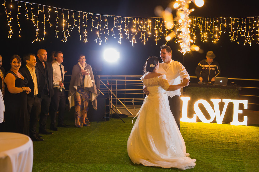 First dance | fairy lights | Astra Bridal Bride Francie | Nautical garden wedding | Photography by Perspectives | www.borrowedandblue.kiwi