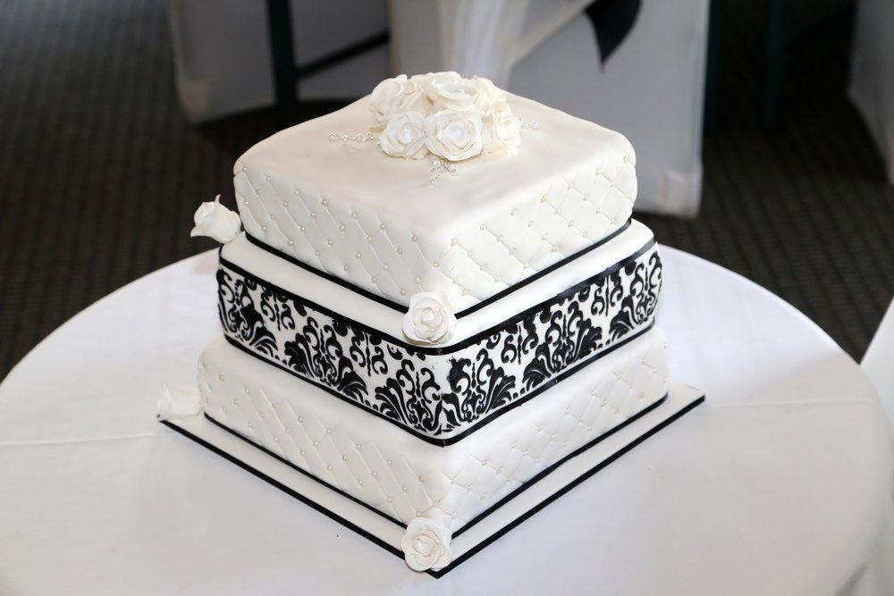 Astra Bride Teressa | Maggie Sottero Joelle | Black and white cake |
