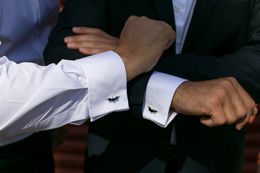 Batman cufflinks | Astra Bride Kimberly | Maggie Sottero Londyn | Gear Homestead | Von Photography |
