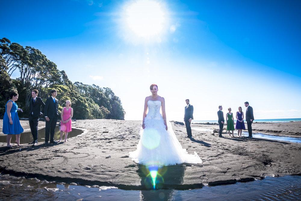 Beach Shot | Astra Bride Jo | Bonny 229 | Taranaki wedding | Photography by Mark Bellringer |