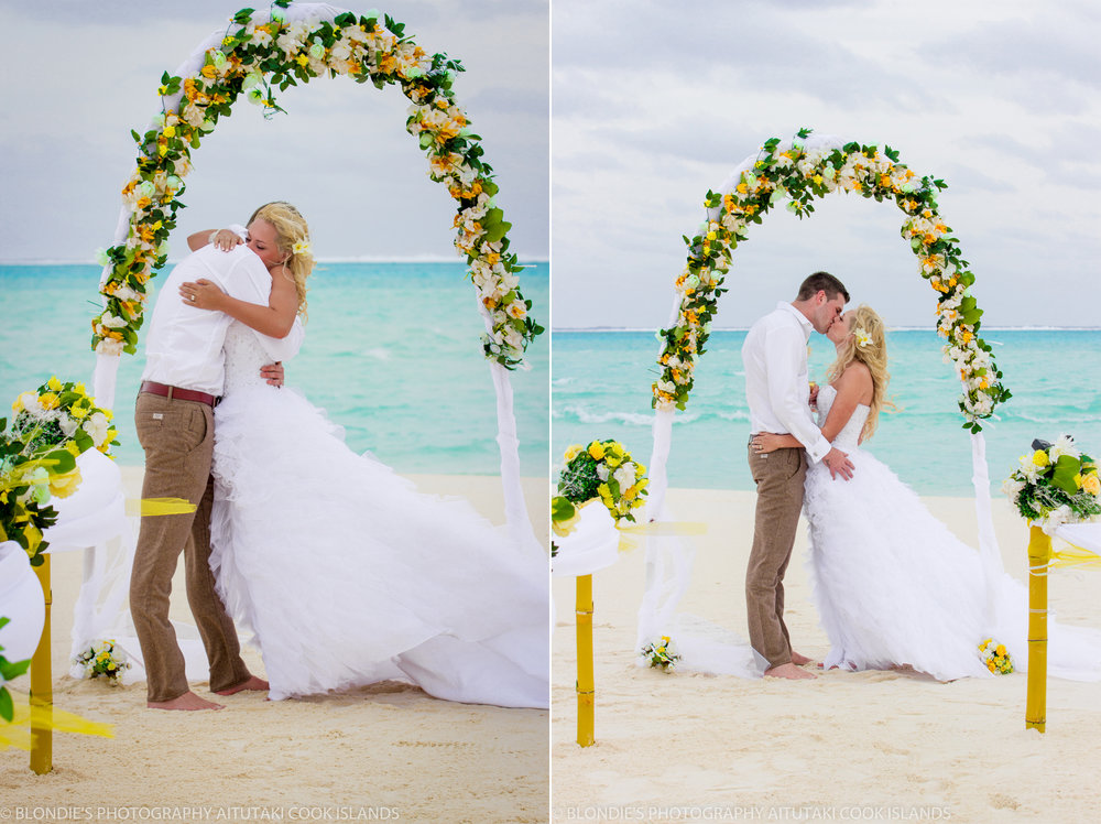 Astra Bride Bonnee | Christina Rossi gown | Aitutaki resort | Blondies Photography | Congratulations |