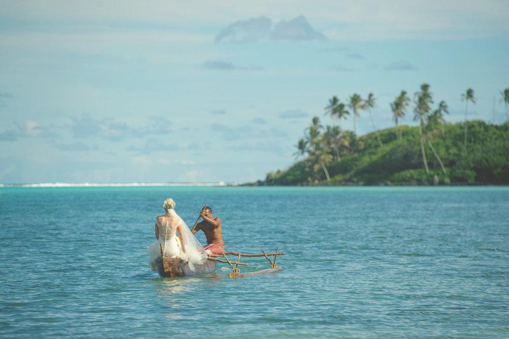 Astra Bride Justine | Maggie Sottero Cassandra | Pacific Resort Rarotonga | Noir Photography | Lagoon ride |