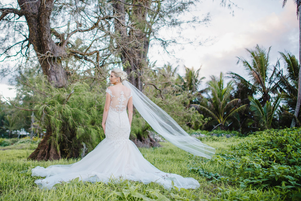 Astra Bride Justine | Maggie Sottero Cassandra | Pacific Resort Rarotonga | Noir Photography | Back shot of gown and veil |