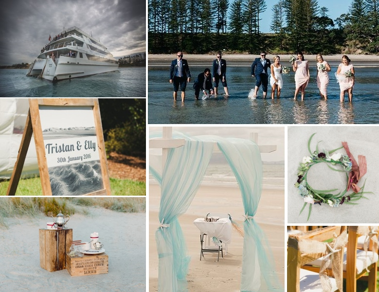 Beach wedding inspiration | Gorgeous locations | table decor | found for you by borrowedandblue.kiwi and www.astrabridal.co.nz