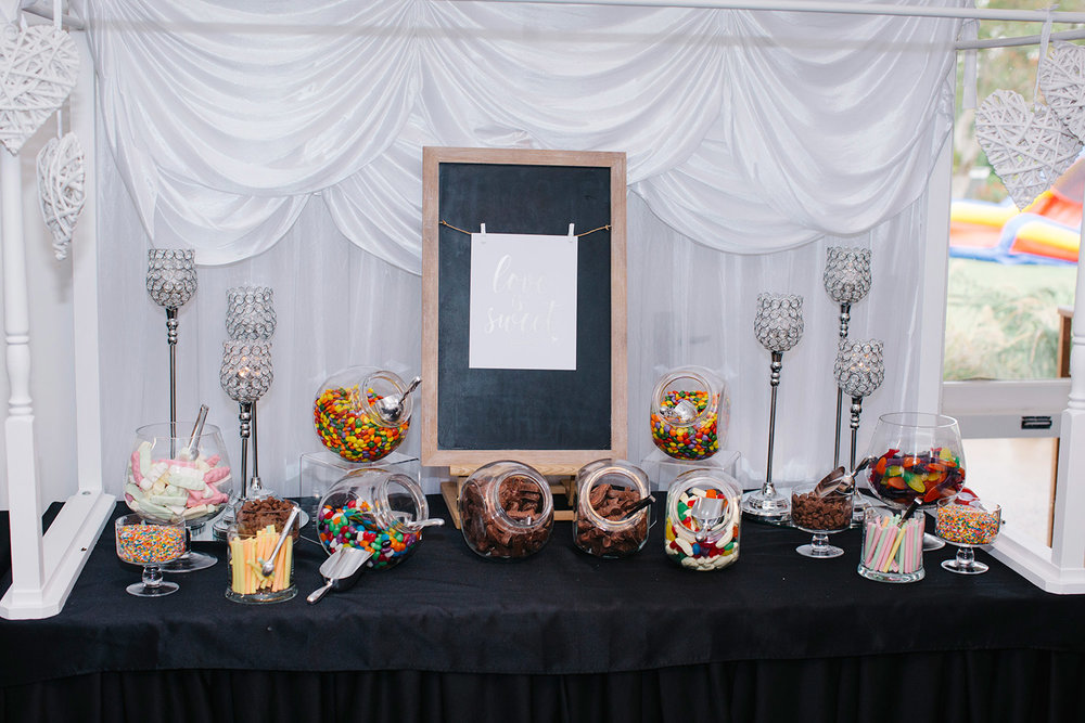 Candy Station | Astra Bride Natasha | Glamourous family wedding inspiration | Wedding dress by Maggie Sottero from Astra Bridal  | www.borrowedandblue.kiwi