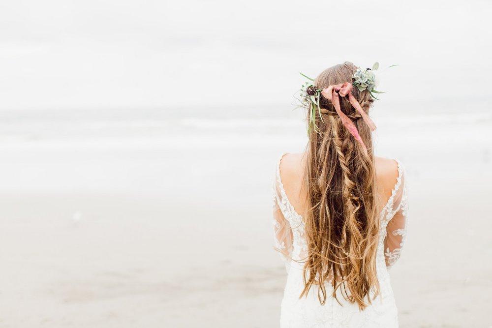 Stunning wedding hair style | Beach Boho On Location shoot | wedding dress from Asra Bridal | www.borrowedandblue.kiwi