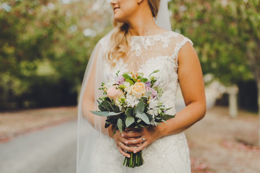 Pastel bouquet | Astra Bride Rachel | Sottero & Midgley Beckett | Poppies of Martinborough | Photography by Patina Photography |