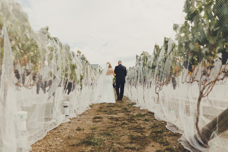 Vineyard aisle | Astra Bride Rachel | Sottero & Midgley Beckett | Poppies of Martinborough | Photography by Patina Photography |
