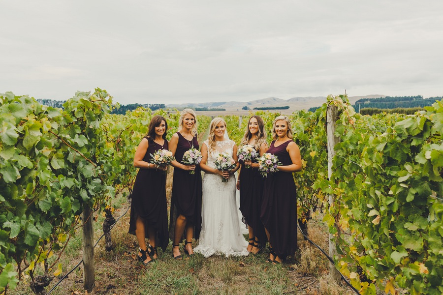 Bride and Bridesmaids | Astra Bride Rachel | Sottero & Midgley Beckett | Poppies of Martinborough | Photography by Patina Photography |