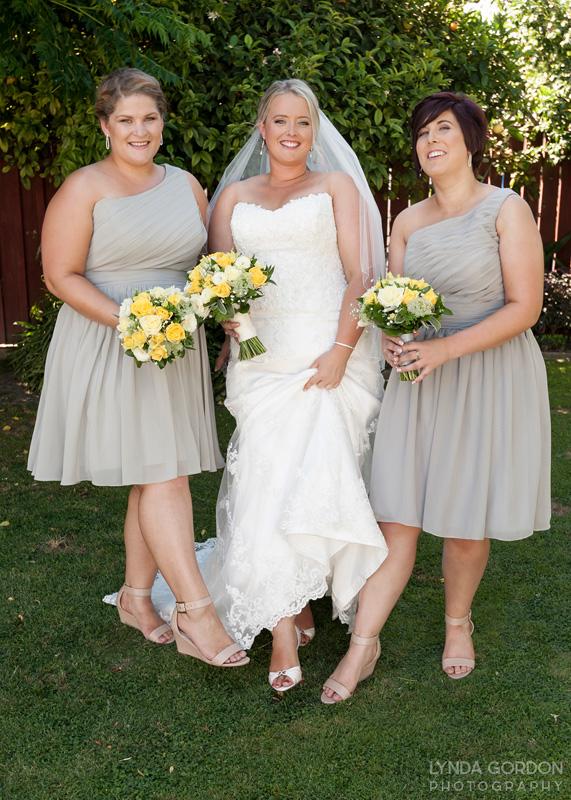 Taupe bridesmaids and yellow flowers | Astra Bride Sophia | Sileni Wine Estate | Maggie Sottero Emma | Lynda Gordon Photography
