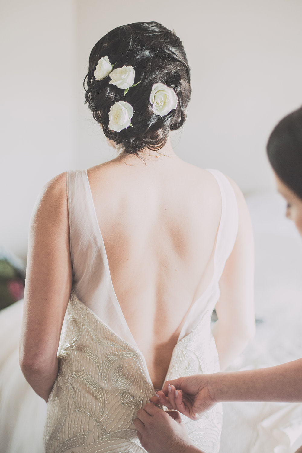 Final dressing | Astra Bride Cloe | Maggie Sottero Gianna | The Old Church Napier | Vintage Wedding | Richard Wood photographer |