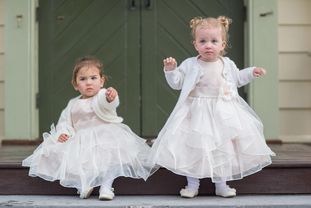 Super cute flowergirls | Astra Bride Cloe | Maggie Sottero Gianna | The Old Church Napier | Vintage Wedding | Richard Wood photographer |